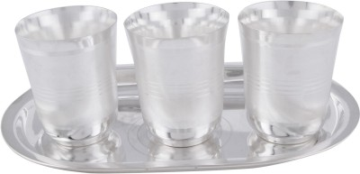 Adiidev Silver Plated Juli Diamond Glass Set With oval Tray 4 Pcs. ( 17cmx26cmx9cm) Pack of 4 Dinner Set(Silver Plated)