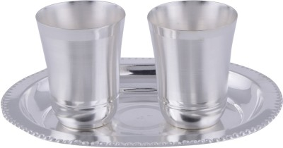 Adiidev Silver Plated Mayuri Glass Set With oval Tray 3 Pcs. ( 17cmx21cmx8cm) Pack of 3 Dinner Set(Silver Plated)