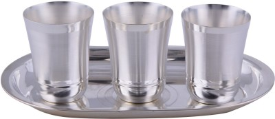 Adiidev Silver Plated Mayuri Glass Set With oval Tray 4 Pcs. ( 17cmx26cmx8cm) Pack of 4 Dinner Set(Silver Plated)