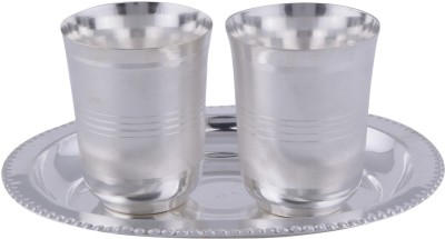 GS Museum Juli Diamond Glass Set With oval Tray 3 Pcs. Pack of 3 Dinner Set(Silver Plated)