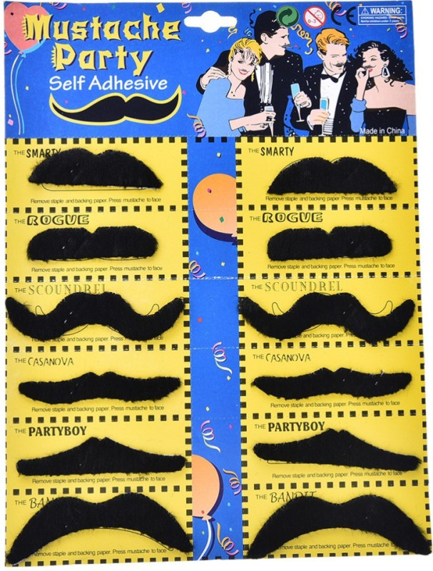 Jamboree Fu Manchu Fake Moustache(Black)