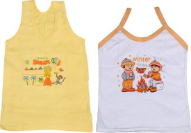 IndiWeaves Camisole Bodysuit Slip For Girls(Yellow, Pack of 2)