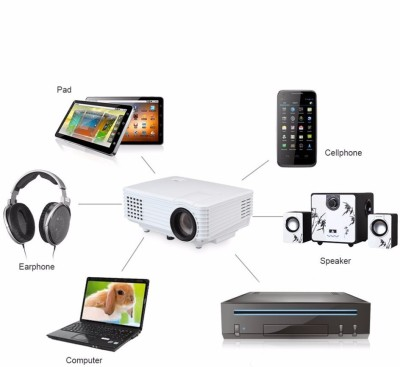 Voltegic RD-805 Mini Multimedia Home Theater Projectors USB HDMI 800 lm LED Corded Portable Projector(White)