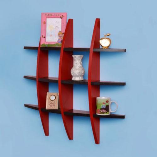View BM Wood Furniture GLOB SHEP Wooden Wall Shelf(Number of Shelves - 12, Red, Black) Furniture (BM WOOD FURNITURE)