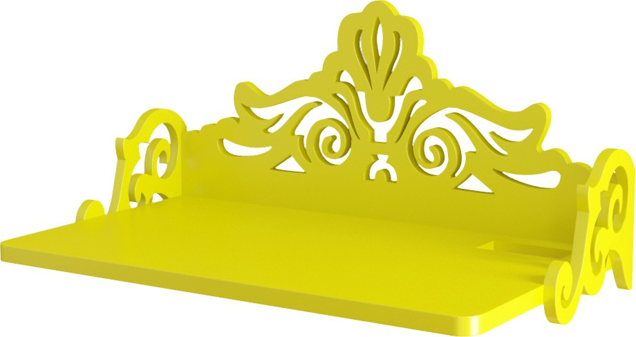 View Home Sparkle Carved Set Top Box Holder Wooden Wall Shelf(Number of Shelves - 1, Yellow) Furniture (Home Sparkle)