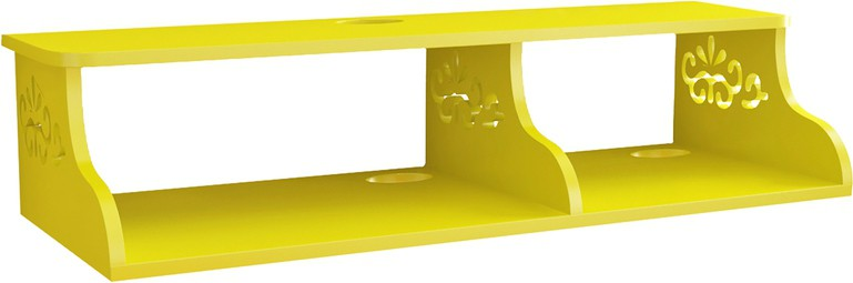 View Home Sparkle Carved Wall Shelf Wooden Wall Shelf(Number of Shelves - 1, Yellow) Furniture (Home Sparkle)