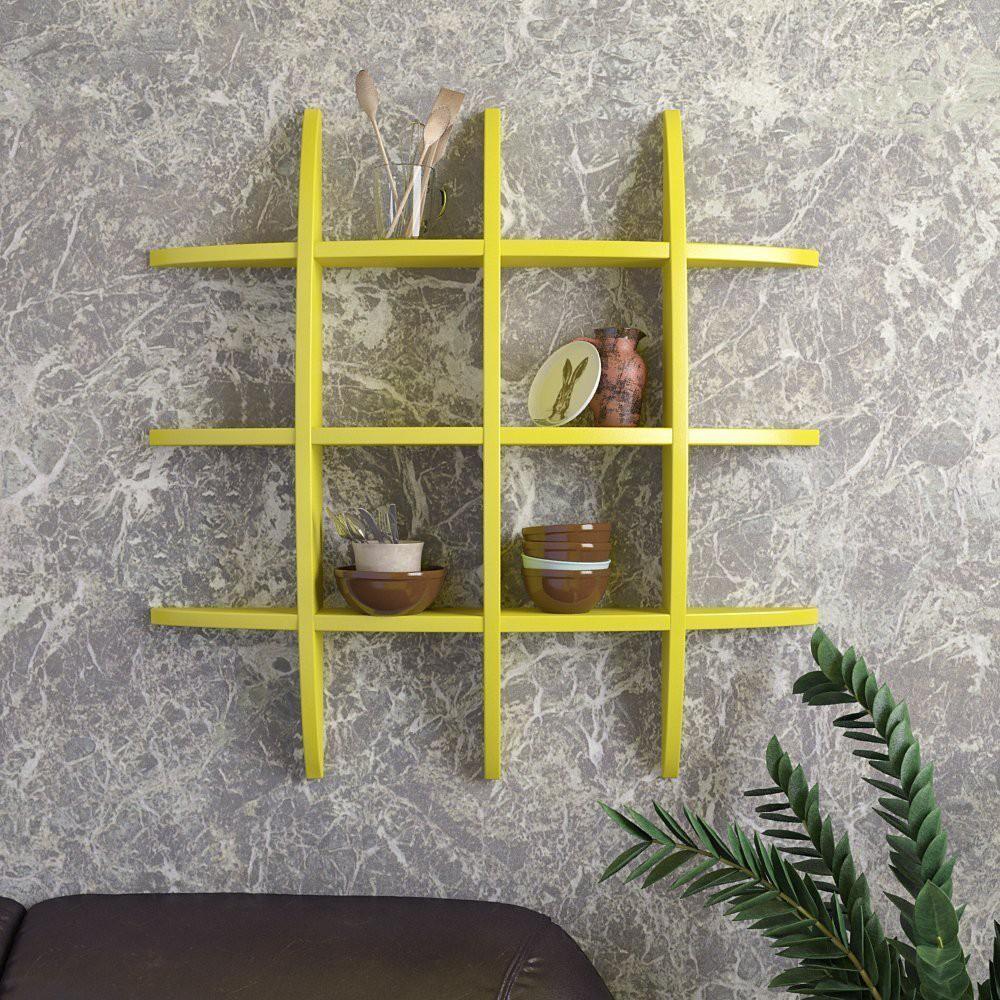 View BM Wood Furniture Wooden Wall Shelf(Number of Shelves - 12, Yellow) Furniture (BM WOOD FURNITURE)