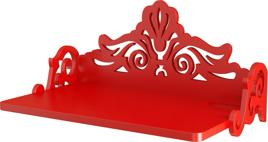 View Home Sparkle Carved Set Top Box Holder Wooden Wall Shelf(Number of Shelves - 1, Red) Furniture (Home Sparkle)