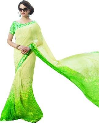 Shaily Retails Printed Fashion Georgette Saree(Green) at flipkart