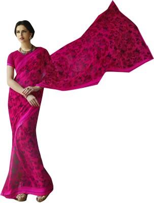 Shaily Retails Printed Fashion Georgette Saree(Pink) at flipkart