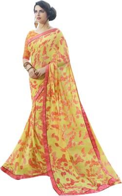 Shaily Retails Printed Fashion Georgette Saree(Yellow) at flipkart