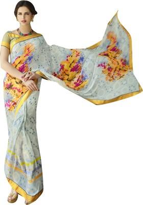 Shaily Retails Printed Fashion Georgette Saree(Grey) at flipkart