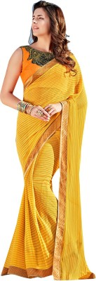 Shaily Retails Embellished Fashion Georgette Saree(Yellow) at flipkart