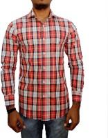 Snow Leopard Formal Shirts (Men's) - Snow Leopard Men's Checkered Formal Orange Shirt