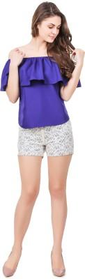 Fame16 Solid Women's White Basic Shorts at flipkart