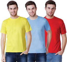 DB Solid Men's Round Neck Multicolor T-Shirt(Pack of 3)