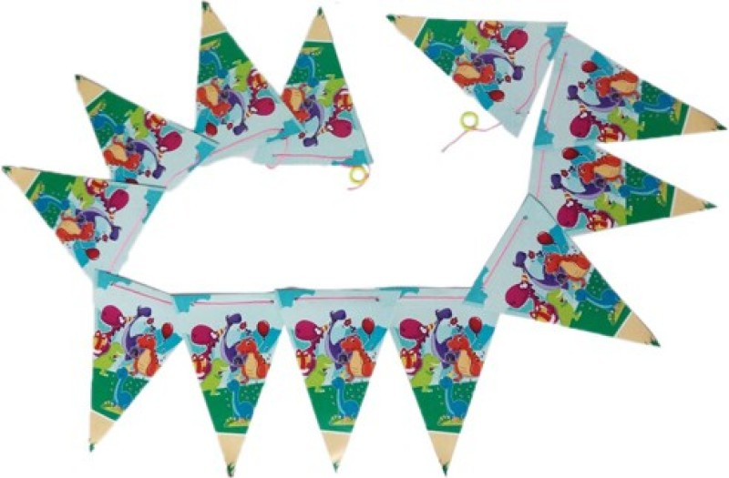 Funcart Barneys Dino Theme Flag Banner Bunting Banner(4 ft, Pack of 1)