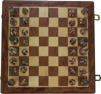 SSB 12 inch metal coins family chess set exquisite and easy-carry handmade wooden 1 inch Chess Board(Multicolor)