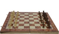SSB 15 inch folding wooden 3in1 checkeers and backgammon game set 1 inch Chess Board(Multicolor)