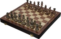 SSB 12 inch metal coins wooden game set 1 inch Chess Board(Multicolor)