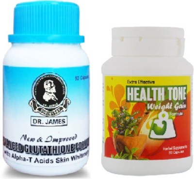 Health Tone Extra Effect Weight gain Capsules & Dr James Skin Whitening capsules(500 g) at flipkart