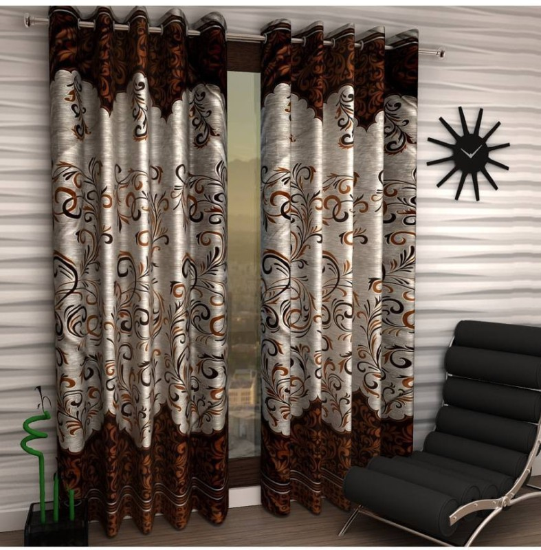 Panipat Textile Hub Polyester Brown Floral Eyelet Door Curtain(213 cm...