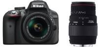 Nikon D3300 18 55 AF-P 18 55 mm VR DSLR Camera With Sigma 70 - 300 mm F4-5.6 DG Macro for Nikon Digital SLR Lens(Black)
