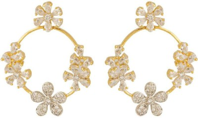 Navrang Artificial Classic Embellished Cubic Zirconia Brass Dangle Earring at flipkart