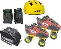 Jaspo Black Panther Eco Shoe Skate Combo SIZE-8 UK (shoe skates+ helmet+knee+bag) Foot length 26.3 cms ( For age 15 years and above) Skating Kit
