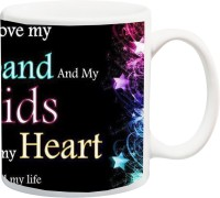 iZor Gift for Hubby;I Love My Husband And My Kids With All My Heart HD printed Ceramic Mug