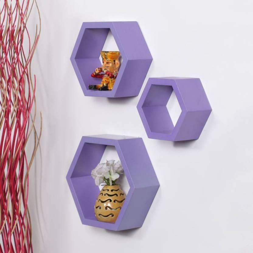 View huzainhandicrafts MDF Wall Shelf(Number of Shelves - 3) Furniture (huzain handicrafts)