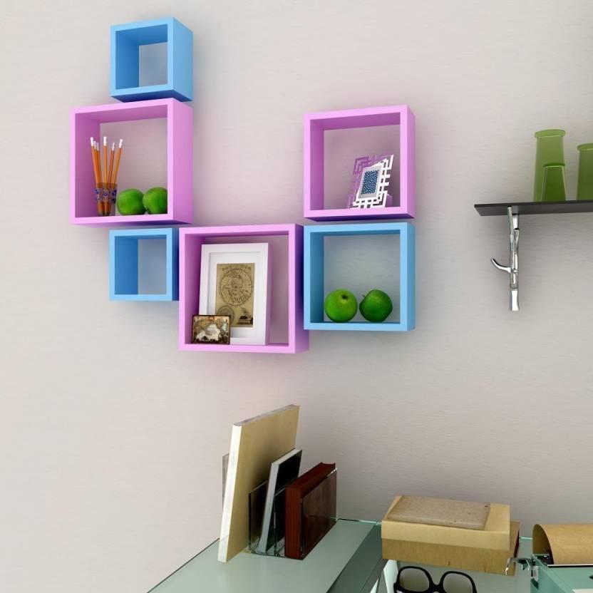 View india wooden handicraft wall shelf pink blue Wooden Wall Shelf(Number of Shelves - 6, Pink, Blue) Furniture (India Wooden Handicrafts)