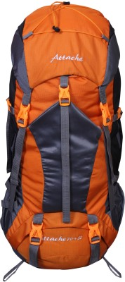 Attache 1025R Hiking Backpack (Orange) With Rain Cover Rucksack - 70 L(Orange, Grey)