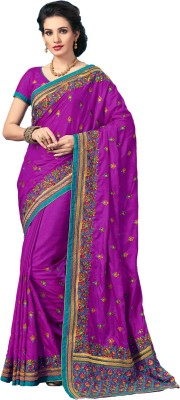 M.S.Retail Embroidered Bollywood Silk, Dupion Silk Saree(Purple) at flipkart