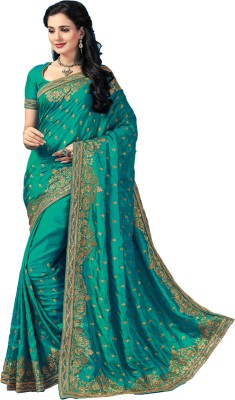 M.S.Retail Embroidered Bollywood Silk, Dupion Silk Saree(Blue) at flipkart