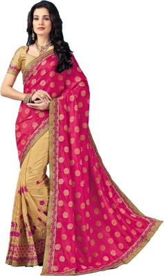 M.S.Retail Embroidered Bollywood Silk, Dupion Silk Saree(Pink) at flipkart