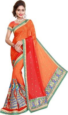 Pragati Fashion Hab Embroidered Fashion Satin Saree(Orange, Pink)
