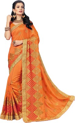 M.S.Retail Embroidered Bollywood Silk, Dupion Silk Saree(Orange) at flipkart