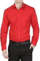 Cross Check Formal Shirts (Men's) - Cross Check Men's Solid Formal Red Shirt