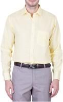 Cross Check Formal Shirts (Men's) - Cross Check Men's Solid Formal Yellow Shirt