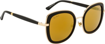 Ted Smith TS-J1005/S_BLK/GLD Cat-eye Sunglasses(Brown, Golden)