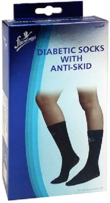 Flamingo Diabetic Socks with Anti-Skid Ankle Support (Free Size, Black, Blue, White)