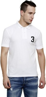 100 Tees Solid Mens Polo Neck White T-Shirt