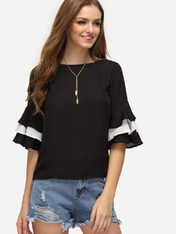 Shivabhi's Casual Bell Sleeve Solid Women's Black Top
