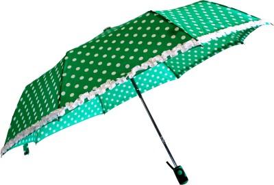 Sun Brand Umbrella Polka & Frill - 3 Fold Umbrella(Seagreen)