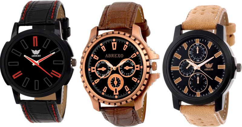 Abrexo Abx 8668 BLK BR Analog Watch For Men