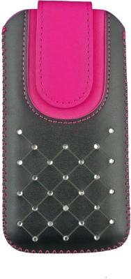 Emartbuy Pouch for Meizu Pro 6(Black / Hot Pink Gem)