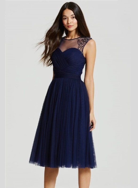 Crease & Clips Women's Empire Waist Dark Blue Dress