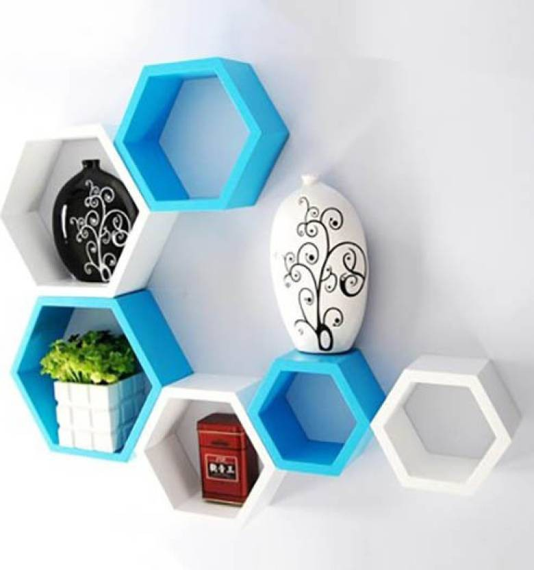 View india wooden handicraft wall shellf Wooden Wall Shelf(Number of Shelves - 6, White, Blue) Furniture (India Wooden Handicrafts)