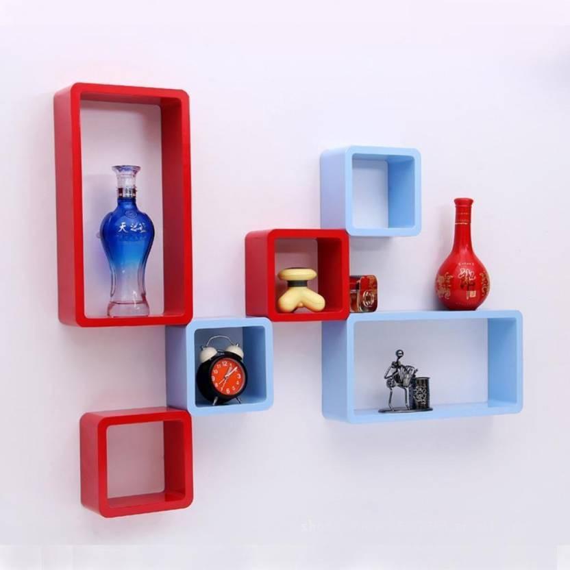 View india wooden handicraft wall shelf Wooden Wall Shelf(Number of Shelves - 6, Red, Blue) Furniture (India Wooden Handicrafts)